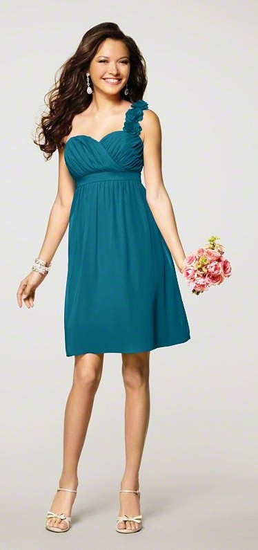 Help me with my vision!!! :  wedding 7138 22 Tealness Front Alfred Angelo Bridesmaid Dress